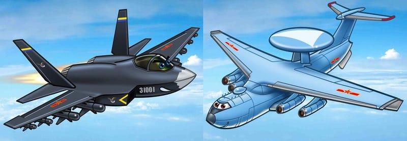 Illustration for article titled El ejército chino ahora tiene mascotas adorables e infantiles para sus aviones de guerra