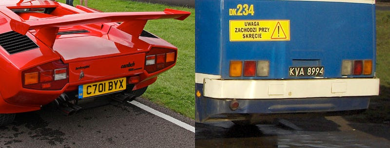 Illustration for article titled Separated at Birth: Lamborghini Countach Vs. Ikarus 280 Bus
