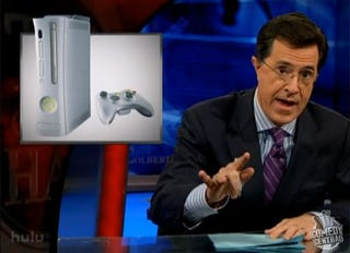 "Illustration for article titled The Colbert Report Touts Xbox 360's ""Family"" Ties"