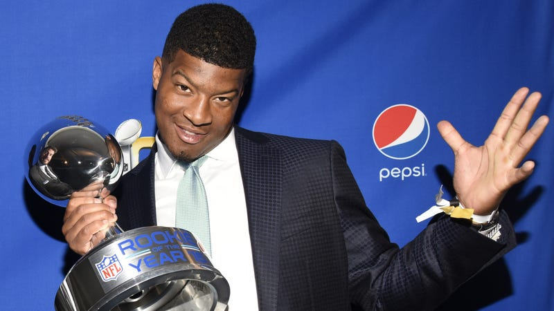 Jameis Winston receives the Pepsi Rookie of the Year Award on Feb. 5, 2016, in San Francisco. (Tim Mosenfelder/Getty Images)