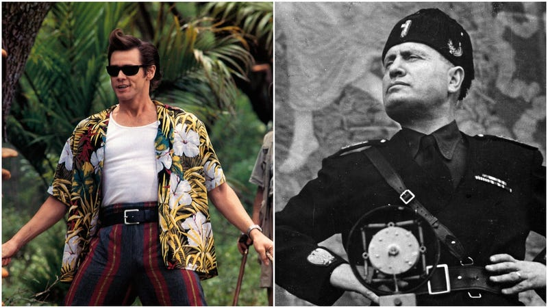 Illustration for article titled Political artist Jim Carrey is feuding with Benito Mussolini's granddaughter, so hey, how's your day?