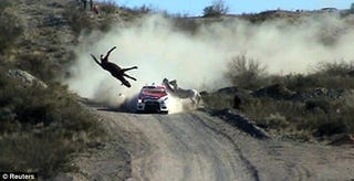 Illustration for article titled Man Asserts Dominion Over Nature, Hits Horse With Rally Car