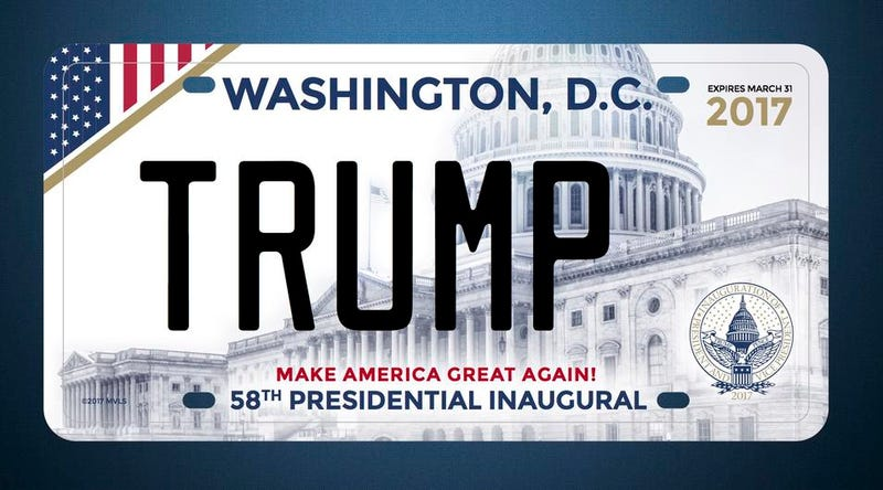 A design for the inaugural Donald Trump license plate, which the Wall Street Journal reports wasn't ordered. Image via Greg Hunter/Hunter Inaugural Commemoratives