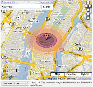 Google maps hack allows you to nuke any city in one click it must be the two hundred and twenty three times ive watched war games but i love this google maps mapplet that allows you to nuke cities with sciox Choice Image