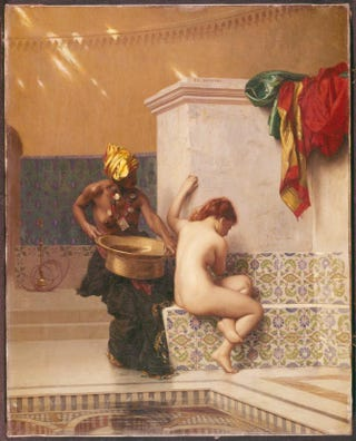 "Jean-Léon Gérôme (1824-1904), Le bain maure (""The Moorish Bath""), circa 1870. Oil on canvas, 58 by 41.3 cm.Museum of Fine Arts, Boston"