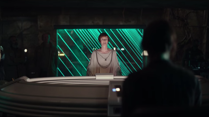 Image: Screenshot of Mon Mothma from the Rogue One trailer