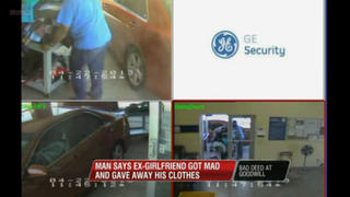 Goodwill surveillance video shows a woman arriving at Goodwill and unloading her trunk carrying what has been reported to be all her ex-boyfriend's clothes.WREG Screenshot