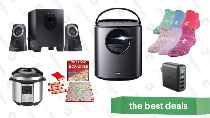 Illustration for article titled Saturday's Best Deals: Anker Nebula Projectors, Speakers, Basic Apparel, and More