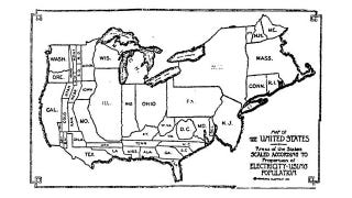 Illustration for article titled A Map of Which State Had the Most Electricity in 1921