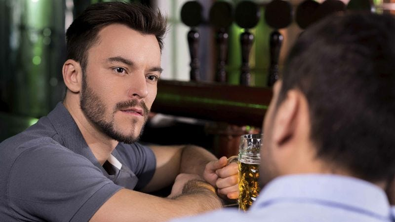 Illustration for article titled Man Looks On Helplessly As Friend Tells Him Story He's Already Heard