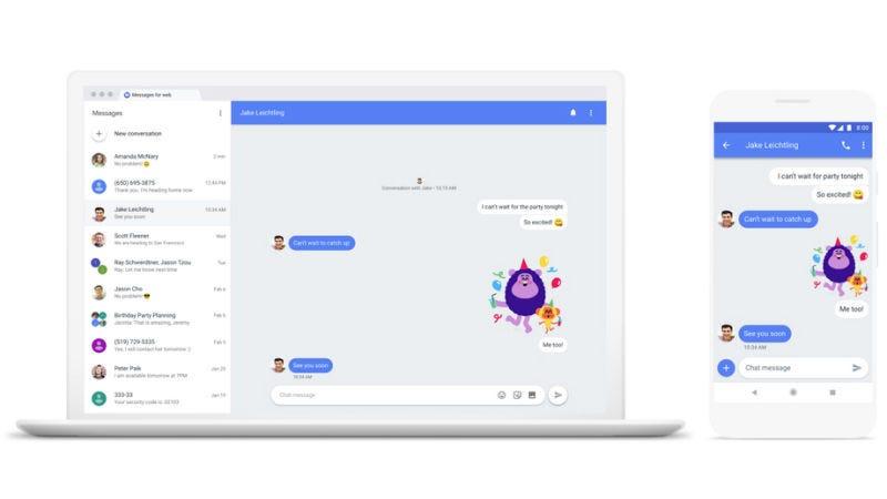 Illustration for article titled Por fin: Google lanza soporte de escritorio que permite a los usuarios de Android enviar mensajes desde sus ordenadores