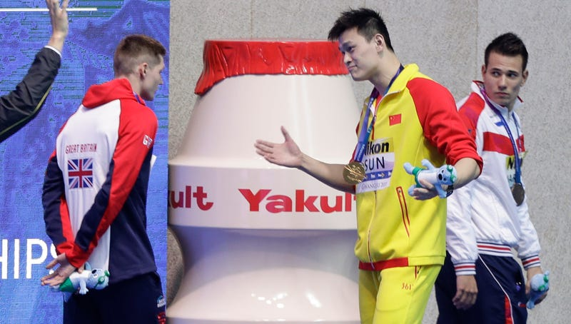 Illustration for article titled Controversial Chinese Swimming Champion Sun Yang Keeps Getting Protested