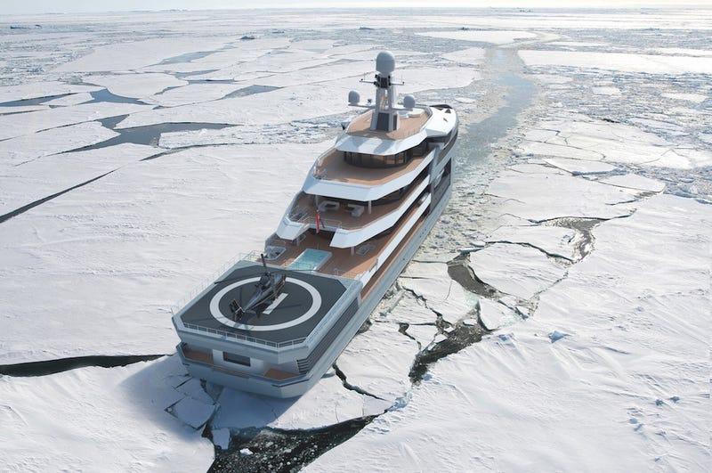 Illustration for article titled Shipbuilder Photoshops Luxury Icebreaking Megayacht Backwards