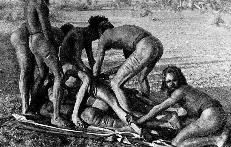 Illustration for article titled La modificación más extrema del pene la realizan estos aborígenes del hemisferio sur al llegar a la pubertad