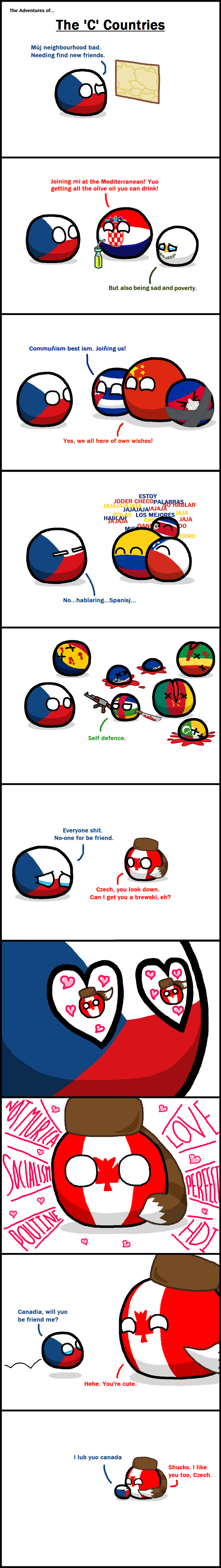 Illustration for article titled Daily Polandball: Adventures of the C countries.