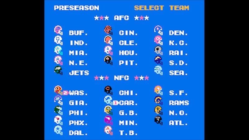 Illustration for article titled Your Monday Night Football Tecmo Super Bowl Simulation Is Live