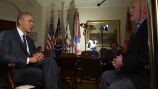 President Obama speaks with The Wire creator David Simon at the White House.Screenshot