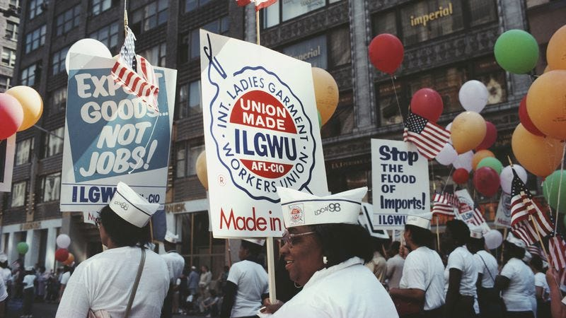 Members of the International Ladies Garment Workers Union march on Labor Day 1982. (Photo: Barbara Alper / Getty Images)
