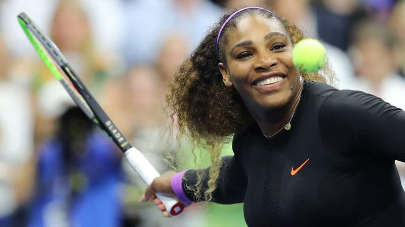 Serena Williams celebrates after winning her women's singles semifinal match against Elina Svitolina at the U.S. Open in New York Sept. 5, 2019.