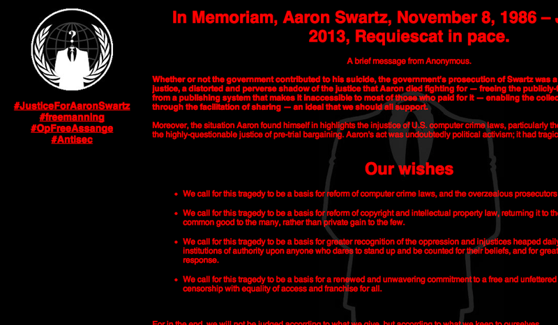 Illustration for article titled Anonymous Hacks MIT in Aaron Swartz's Name
