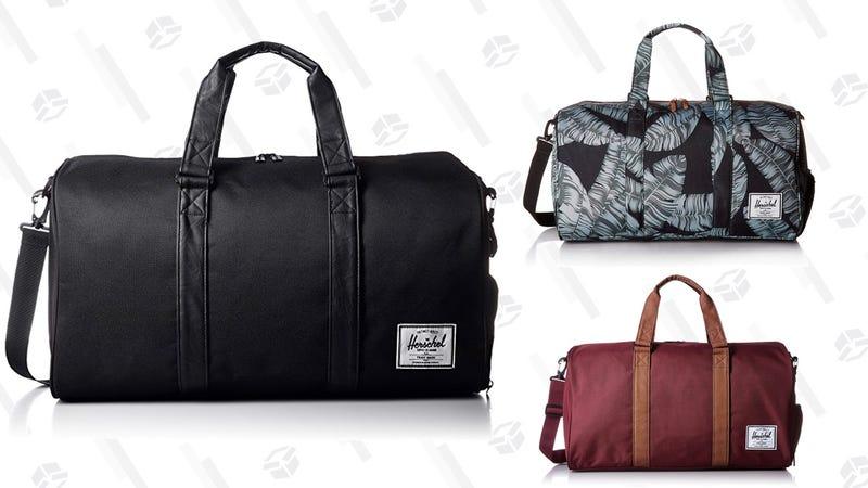 Herschel Supply Co. Novel Duffel Bag, Windsor Wine/tan | $60 | AmazonHerschel Supply Co. Novel Duffel Bag, Black Palm | $60 | AmazonHerschel Supply Co. Novel Duffel Bag, Black/Black | $61 | AmazonHerschel Supply Co. Novel Duffel Bag, Raven Crosshatch | $64 | Amazon