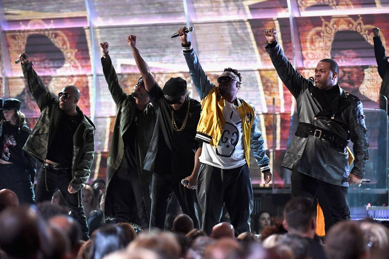 A Tribe Called Quest performs along with Consequence, Busta Rhymes and Anderson .Paak at the Grammys Feb. 12, 2017 (Kevork Djansezian/Getty Images)