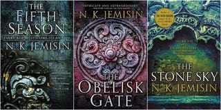 All three books in the Broken Earth trilogy.