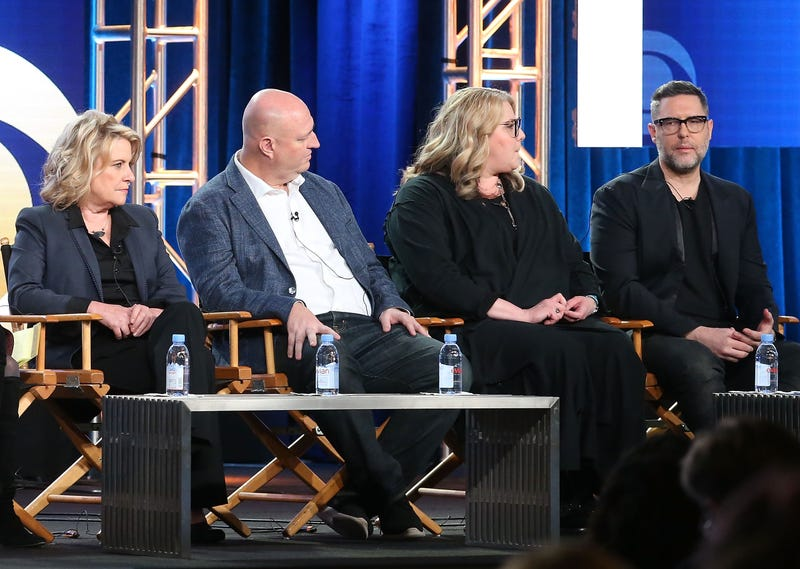 Barbara Hall and Shawn Ryan with Star Trek: Discovery EPs Gretchen J. Berg and Aaron Harberts at TCA 2018 (Photo: Frederick M. Brown/Getty Images)