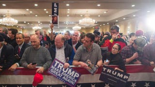 Supporters of Republican presidential candidate Donald Trump wait for him to sign items after a town hall Jan. 29, 2016, in Nashua, N.H.Scott Eisen/Getty Images