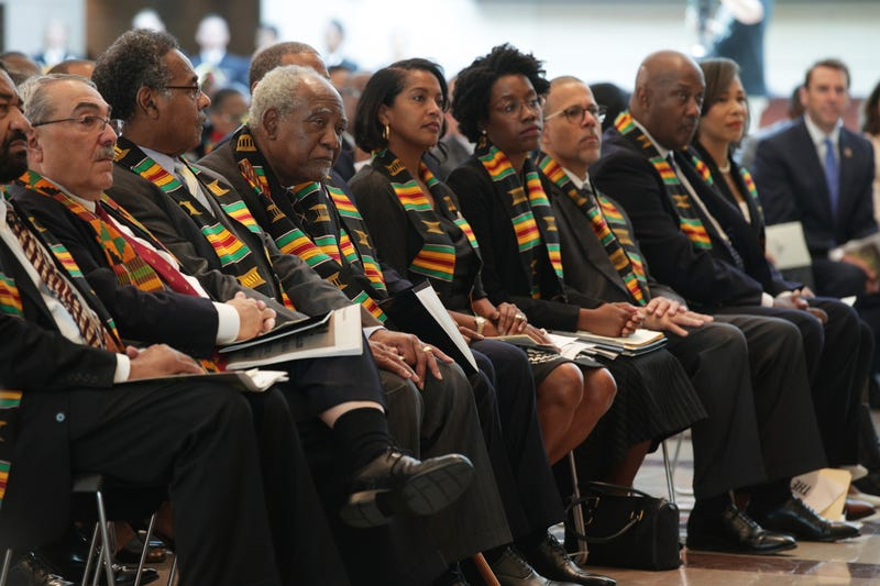 Members of the Congressional Black Caucus listen during an event at the Emancipation Hall of the U.S. Capitol September 10, 2019 in Washington, DC.