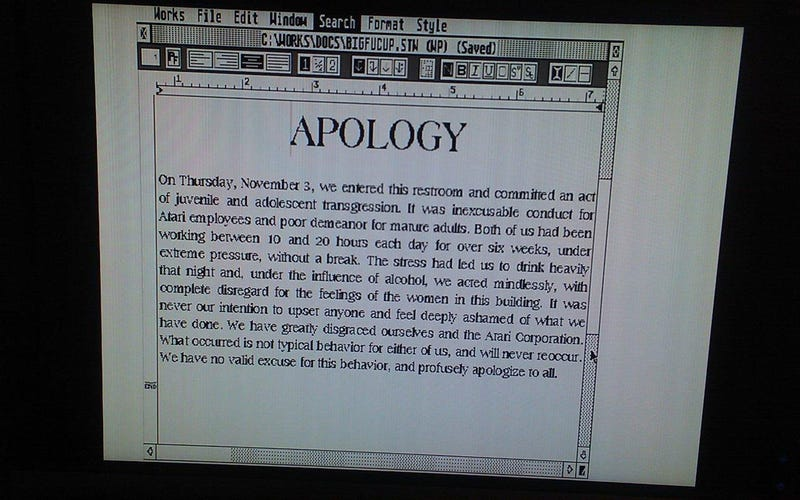 Illustration for article titled Atari Tester's Machine from the '90s Contains Mysterious Apology