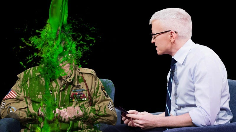 A WWII veteran getting slimed on 60 Minutes.