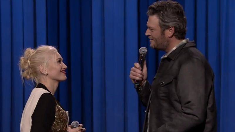 Illustration for article titled Gwen Stefani and Blake Shelton duet, win Fallon's lip-synch battle