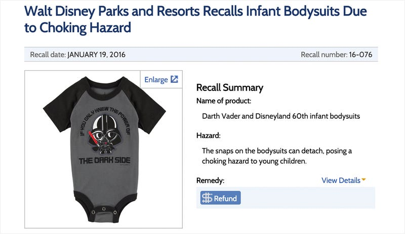 Illustration for article titled Darth Vader Baby Onesie Recalled... For Choking Hazard