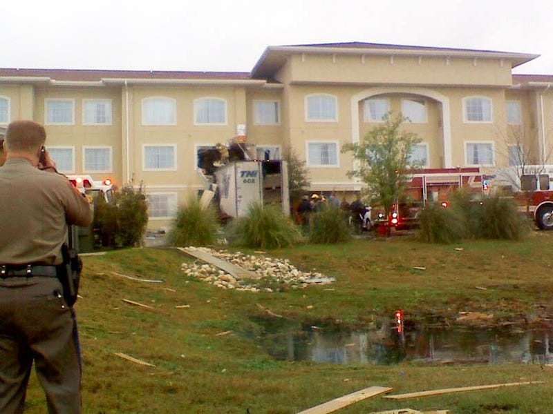 Semi Truck Flies 100 Feet Smashes Into Second Floor Of Motel