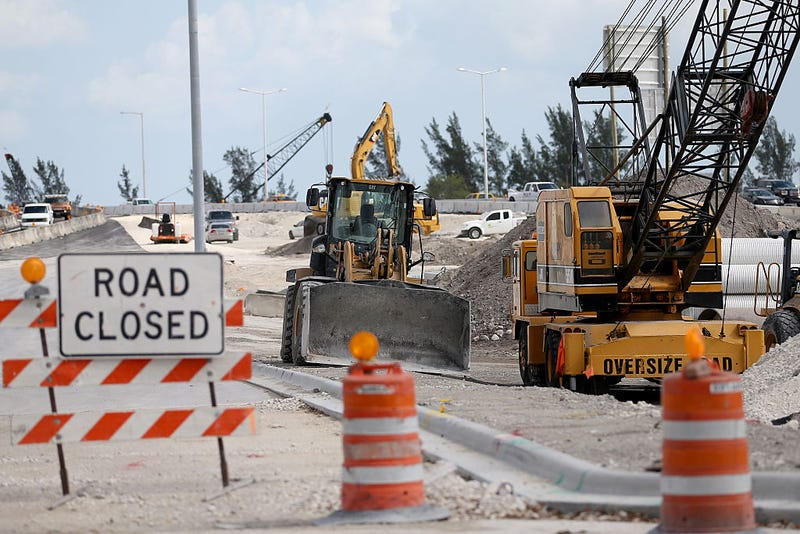 Construction on a $559 million reconstruction project, some of which was being federally funded, at the interchange connecting State Road 826 and S.R. 836, one of the most heavily congested areas in Miami-Dade County, on Feb. 2, 2015, in Miami. President-elect Donald Trump has proposed a $1 trillion infrastructure plan that may help rebuild the nation's inner cities.Joe Raedle/Getty Images