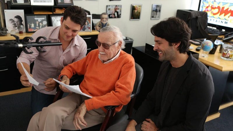 From left: Luke Lieberman, Stan Lee, and Ryan Silbert recording audio for Alliances: A Trick of Light.