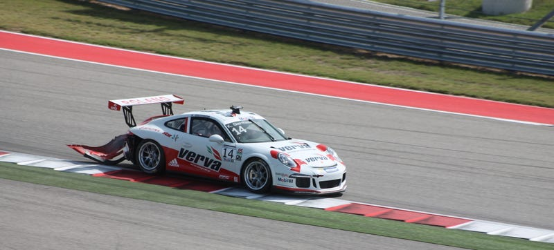 Illustration for article titled This Porsche Supercup Car Dragged Its Bumper For Half The Race