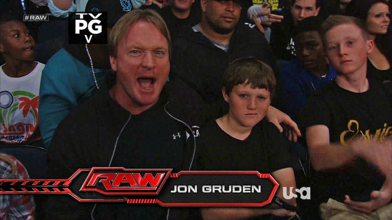 Illustration for article titled BCS Who? Jon Gruden Decided To Have A Blast At WWE Raw Instead