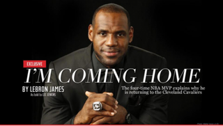 LeBron James announces his return to Cleveland on the Sports Illustrated website.