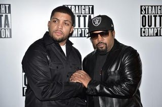 O'Shea Jackson Jr. and his father, O'Shea Jackson, better known as rapper Ice Cube, on the red carpet as they arrive for a screening of the film Straight Outta Compton in London on Aug. 20, 2015LEON NEAL/AFP/Getty Images