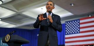 President Barack Obama speaks in Binghamton, N.Y. (Jewel Samad/Getty Images)
