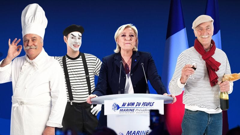Marine Le Pen with a French painter, a French chef, and a French mime