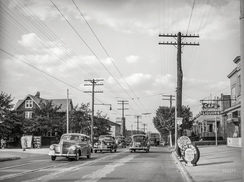 June 1940. Baltimore-Washington Boulevard. U.S. Highway No. 1. Baltimore, Maryland. (Shorpy)