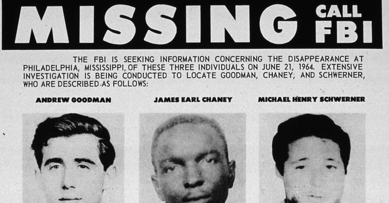 FBI poster searching for the missing civil rights workers