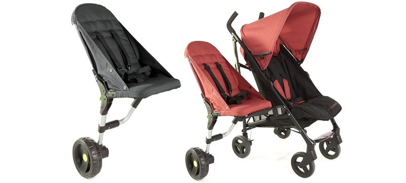 A sidecar that lets strollers accommodate an extra passenger Motorized baby stroller