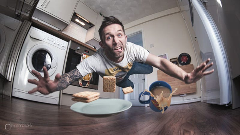 Man Creates Awesome Wiping Out In Kitchen Selfie