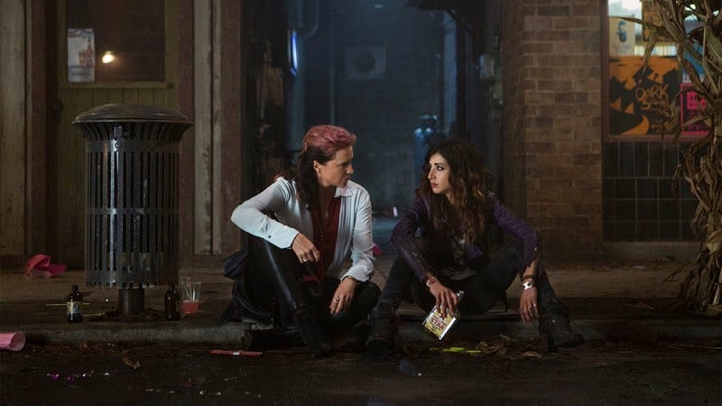 Ruby (Lucy Lawless) and Kelly (Dana DeLorenzo) on Ash vs Evil Dead. Image: Starz