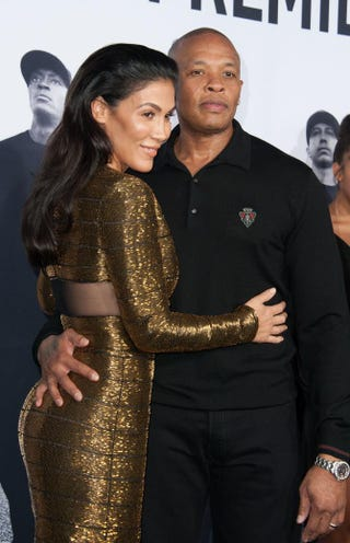 Nicole Young and music producer Dr. Dre arrive in Los Angeles for the premiere of Straight Outta ComptonAug. 10, 2015.VALERIE MACON/AFP/Getty Images