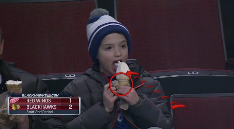 Illustration for article titled Blackhawks Commentator Eddie Olczyk Analyzes A Kid Eating Ice Cream